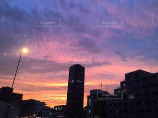 空,夕日,東京,夕焼け,都会,夕陽,グラデーション,無加工,加工なし