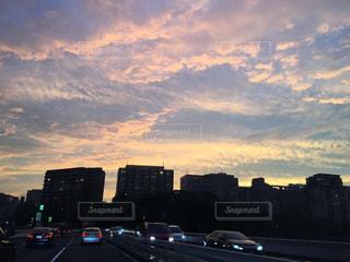 空,夕日,東京,都会,夕陽,ドライブ,無加工,加工なし