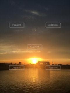 風景,空,太陽,夕暮れ,スカイツリー,川,光