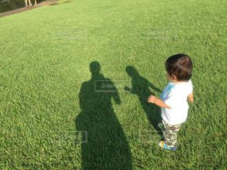 草の中に立っている小さな男の子の写真・画像素材[737050]
