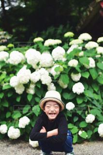 紫陽花とこどもの写真・画像素材[1377366]