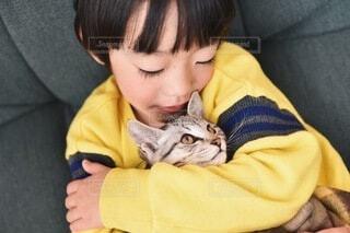 猫と子供の写真・画像素材[4162655]