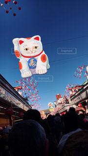 熱気球で空を見ている人の群衆の写真・画像素材[993705]