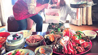 綺麗,おせち,正月,お寿司,テーブルフォト,美味しい,豪華,実家,赤飯,ワイワイガヤガヤ