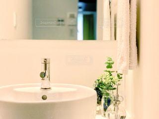 緑,鏡,タオル,水道,手洗い場,洗面台