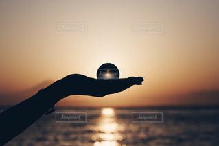 近くに夕日のアップの写真・画像素材[1287595]