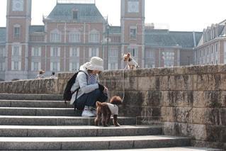 建物の前にあるベンチに座っている人の写真・画像素材[1249393]