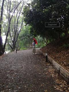 お気に入りの赤い傘があれば雨の日もいい日になる。の写真・画像素材[819008]