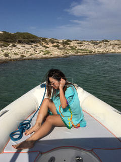 海,夏,ボート,島,日焼け,バカンス,イビサ島