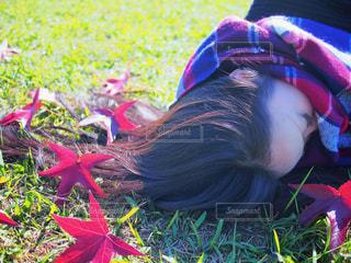 芝生に座っている少女の写真・画像素材[1610707]