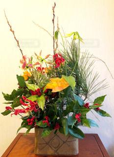 花,屋内,花瓶,松,お正月,フラワーアレンジ,豪華,南天