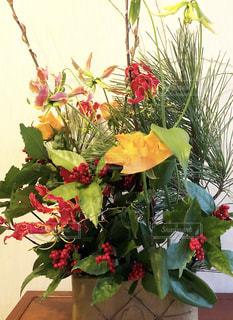 花,屋内,フラワーアレンジメント,松,お正月,フラワーアレンジ,豪華,南天,お正月飾り