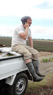 男性,空,男,スマホ,長靴,野外,畑,作業着,40代