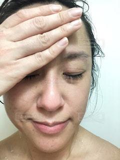 女性,自撮り,人,顔,お風呂,鼻,口,すっぴん,肌,入浴中