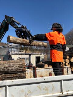 林業作業中の写真・画像素材[4552499]