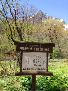 穂高岳を案内板と見比べて。の写真・画像素材[793483]
