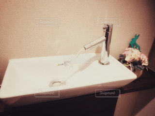 洗面台とプリザーブドフラワーの写真・画像素材[797956]