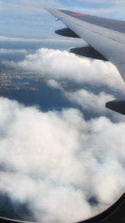 曇り空を飛ぶ大型旅客機の写真・画像素材[873326]