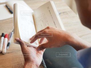 一枚の紙を持っている手の写真・画像素材[1545107]