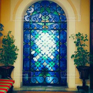 青、玄関、ステンドグラス、アンダルシア、光、スペインの写真・画像素材[649266]