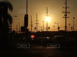 夕日,海外,車,アメリカ,旅行,カリフォルニア,L.A.