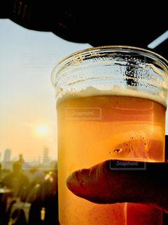 空,夕日,テラス,美しい,ビール,バーベキュー,酒,BBQ