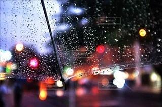 雨の中の信号の写真・画像素材[3690780]