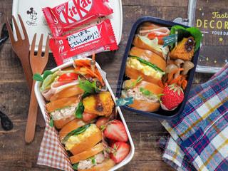 子供のお弁当、サンドイッチの写真・画像素材[2044841]