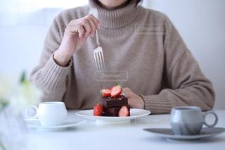 チョコ香るブラウニーの写真・画像素材[2931328]