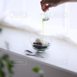 抹茶みつ香るひんやり抹茶ゼリーの写真・画像素材[4581370]