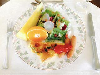 朝食,フルーツ,サラダ,ご飯,おいしい,プレート,朝ご飯