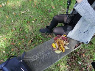 公園のベンチに座っている女性 - No.877470