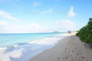水の体の横にある砂浜のビーチの写真・画像素材[925841]