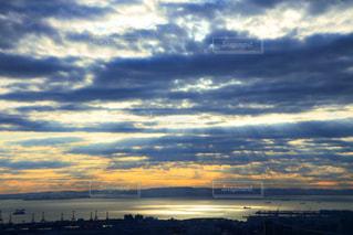 風景,海,空,太陽,光,朝焼け
