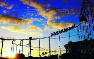 夕日,遊園地,ジェットコースター,黄昏,グラデーション