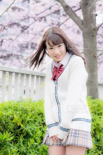 桜並木の前に立つ女子高生の写真・画像素材[858013]