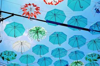 空,傘,緑,赤,カラフル,青空,晴天,青,アート,イベント,ブルー,あめ,グリーン,レッド,色,作品,art,彩り,アンブレラ,umbrella,傘アート