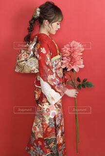 花,赤,着物,人,イベント,和服,お祝い,晴れ着,振袖,成人式,和装,行事,振り袖,成人の日