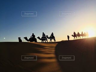 夕焼けの背中に乗っている人々 のグループの写真・画像素材[1014253]
