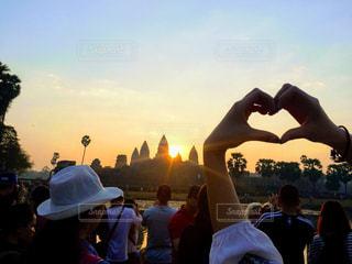 海外,朝日,世界遺産,ハート,旅行,カンボジア,♡,アンコールワット