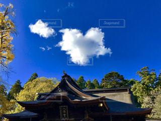 青空にハートの雲❤の写真・画像素材[1119097]