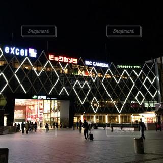 夜の水戸駅の写真・画像素材[1395087]