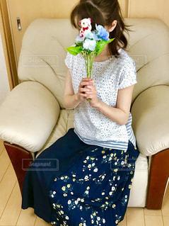 娘のお気に入り💕レースとボーダーのトップス&無地に花柄の切り替えのあるスカートです🌸の写真・画像素材[2237398]