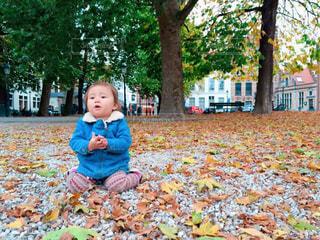 公園で座っている女の子 - No.869130