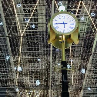 ワイヤー フェンスの側に時計の写真・画像素材[924328]