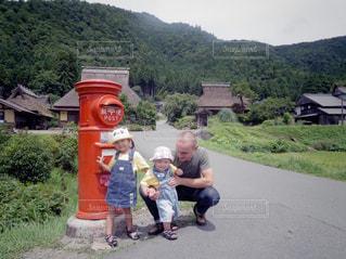 京都,親子,子供,父親,父,子,美山,ハーフ,かやぶきの里