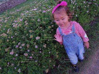 草の中に立っている少女の写真・画像素材[1454722]