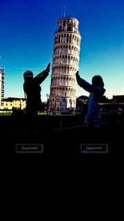 風景,旅行,イタリア,ピサの斜塔,ジェスチャー,支えるポーズ
