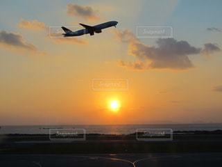 夕日,飛行機,日没
