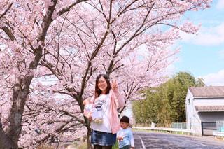木の隣に立っている女の子 - No.750499